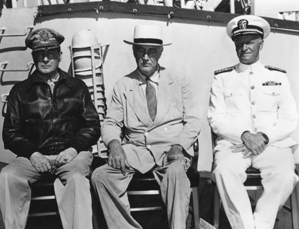 Democratic Party Photograph - General Macarthur - President Roosevelt - Admiral Nimitz - 1944 by War Is Hell Store
