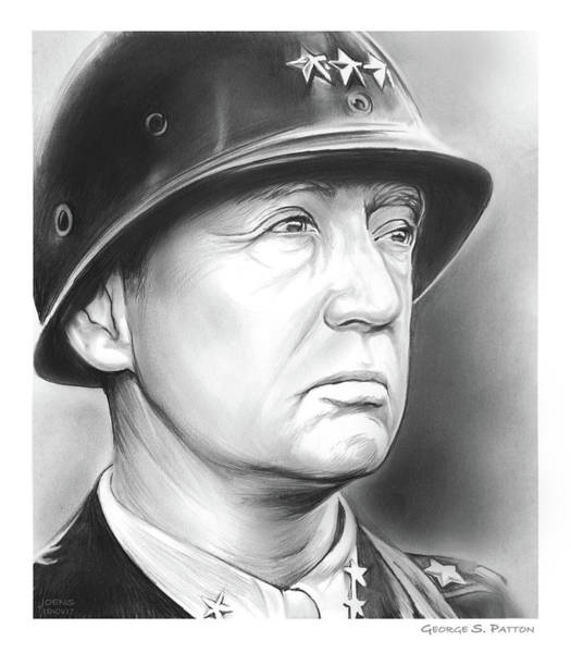 American History Drawing - General Patton by Greg Joens