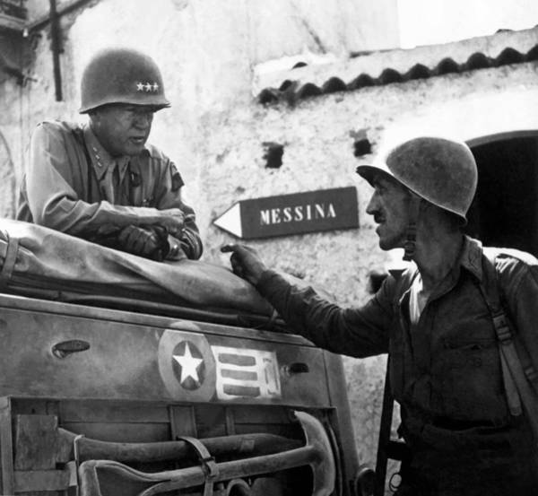 U S Painting - General Patton In Sicily by War Is Hell Store
