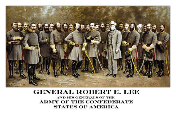 State Of Alabama Painting - General Robert E. Lee And His Generals Of The Confederacy by PaperTimeMachine