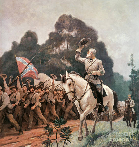 Wall Art - Painting - General Robert Lee Saluting The Troops Heading To The Front by Newell Convers Wyeth