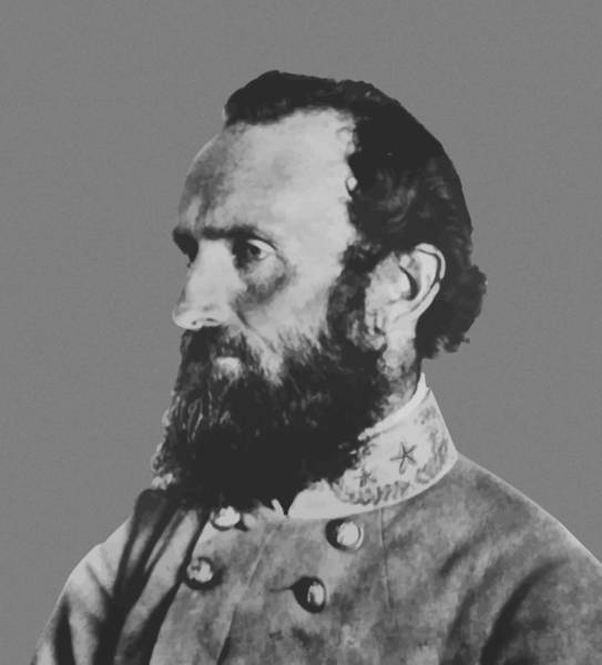 Military Painting - General Stonewall Jackson Profile by War Is Hell Store