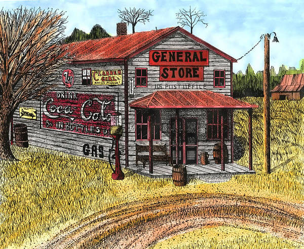 Gas Station Drawing - General Store by Mike OBrien
