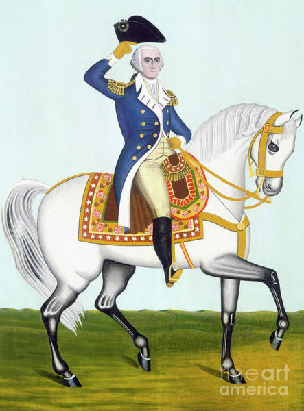 Dressage Painting - General Washington On A White Charger by American School