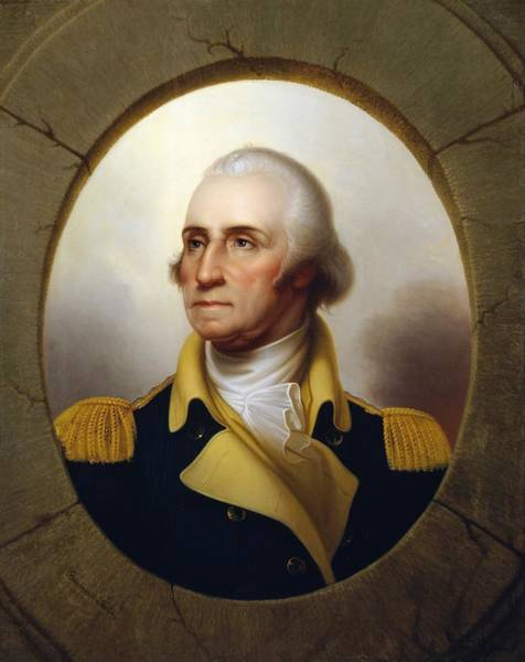 Revolution Wall Art - Painting - General Washington - Porthole Portrait  by War Is Hell Store