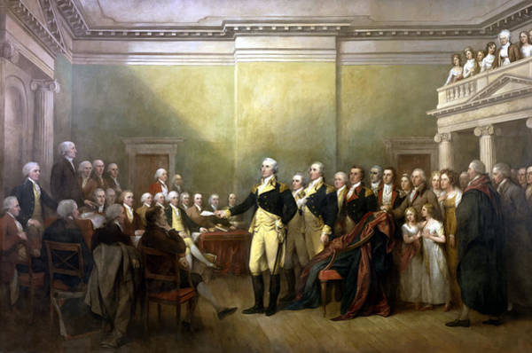 Revolution Wall Art - Painting - General Washington Resigning His Commission by War Is Hell Store