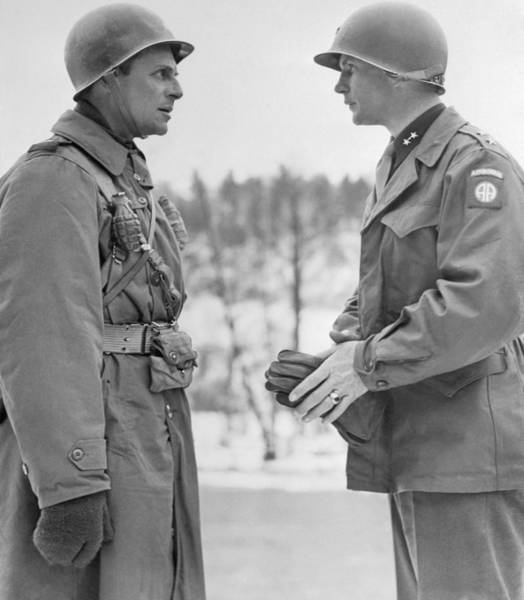 Wwii Photograph - Generals Ridgway And Gavin - Battle Of The Bulge by War Is Hell Store