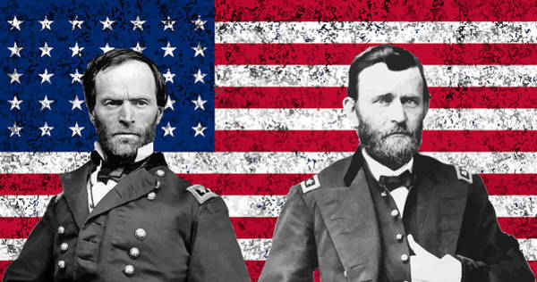 Civil War Wall Art - Painting - Generals Sherman And Grant  by War Is Hell Store