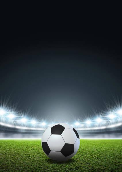 Wall Art - Digital Art - Generic Floodlit Stadium Soccer Ball by Allan Swart