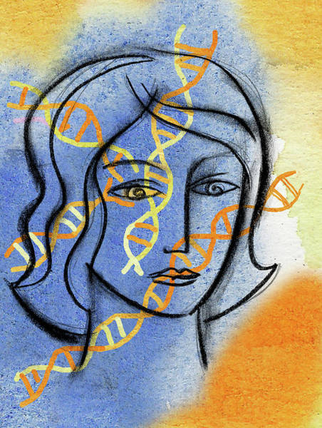 Double Helix Painting - Genetics by Leon Zernitsky