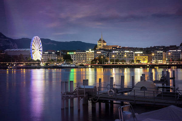 Lakeside Wall Art - Photograph - Geneva By Night  by Carol Japp