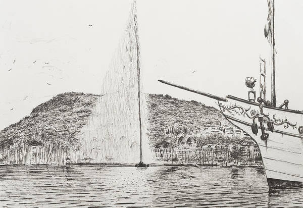 Pier Drawing - Geneva  Fountain And Bow Of Pleasure Boat by Vincent Alexander Booth