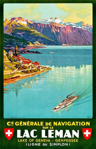 Wall Art - Painting - Geneva Lake, Switzerland, Vintage Travel Poster by Long Shot