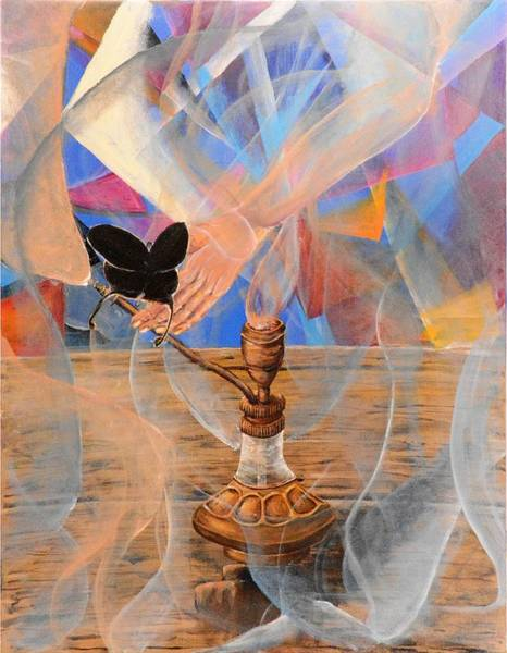 Genie Painting - Genie, Bottle And Butterfly by Medea Ioseliani