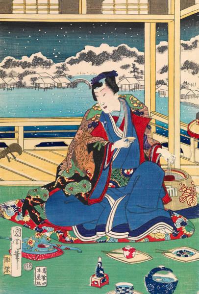 Emperor Of Japan Wall Art - Drawing - Genji Viewing Snow From A Balcony by Kunichika Toyohara