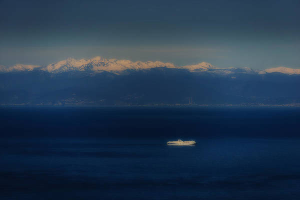 Photograph - Genoa And Savona Coastal Seascape With Ship And Snowy Alps Mountains by Enrico Pelos
