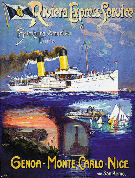 Wall Art - Painting - Genoa, Monte Carlo, Nice Cruiser by Long Shot