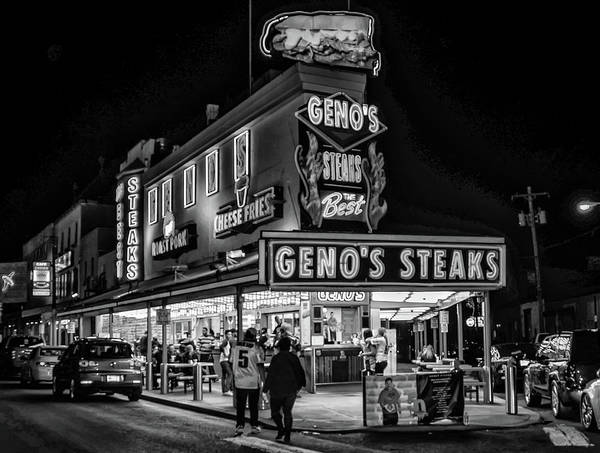 Photograph - Genos Philadelphia Cheese Steak In Black And White by Bill Cannon