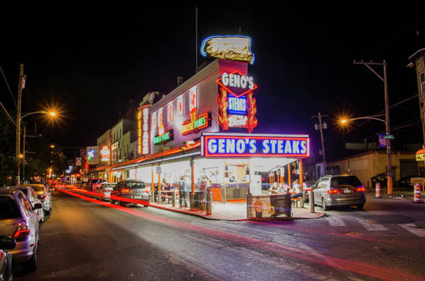 Wall Art - Photograph - Genos Steaks - South Philly by Bill Cannon