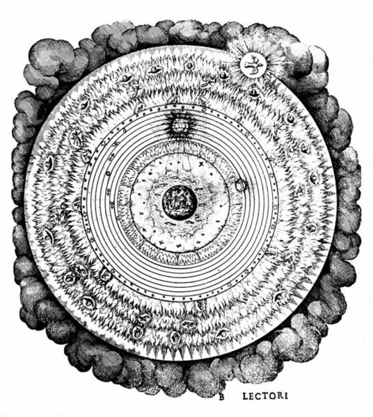 Wall Art - Drawing - Geocentric Universe Showing The Earth Surrounded By The Spheres Of Water, Air And Fire, And Stars by Robert Fludd