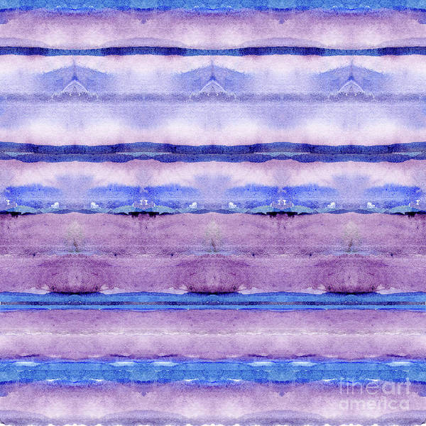 Wall Art - Painting - Geode Inspired Tribal Blanket Focal Striped Pattern In Watercolor by Audrey Jeanne Roberts