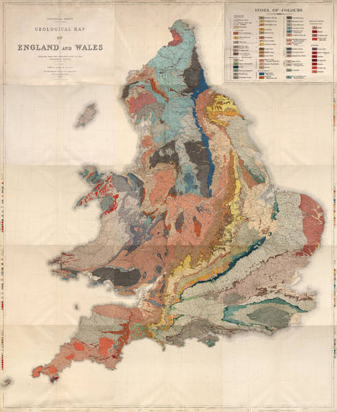 England Drawing - Geological Map Of England And Wales - Historical Relief Map - Antique Map - Historical Atlas by Studio Grafiikka
