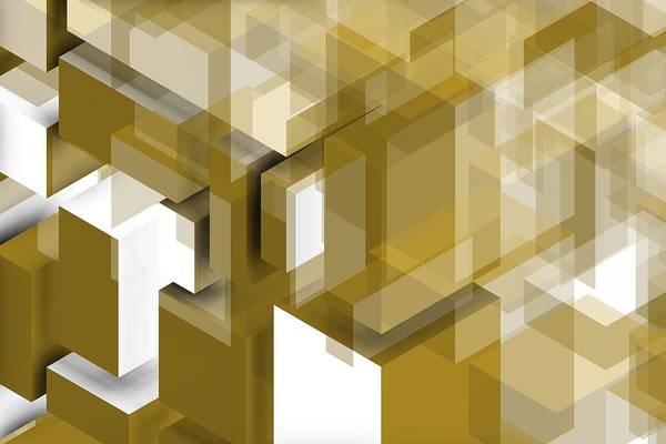 Digital Art - Geometric Gold Composition by Alberto RuiZ