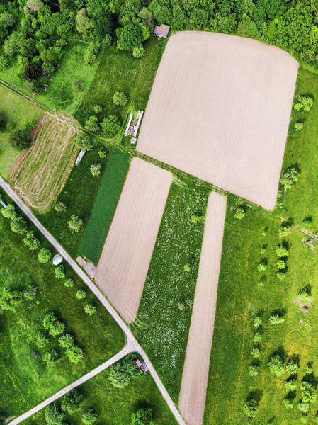 Photograph - Geometric Landscape 03 Fields And Meadows From Above by Matthias Hauser