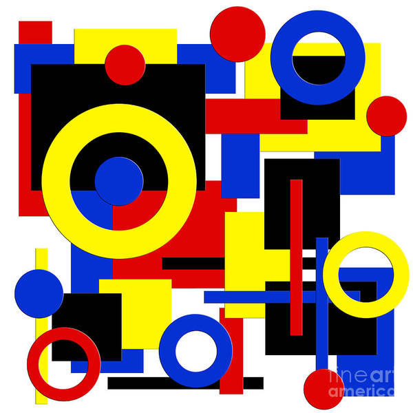 Digital Art - Geometric Shapes Abstract Square 1 by Andee Design