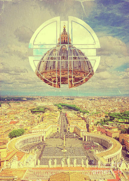 Photograph - Geometric Vatican St Peters Square Basilica Dome Italy Rome by Beverly Claire Kaiya