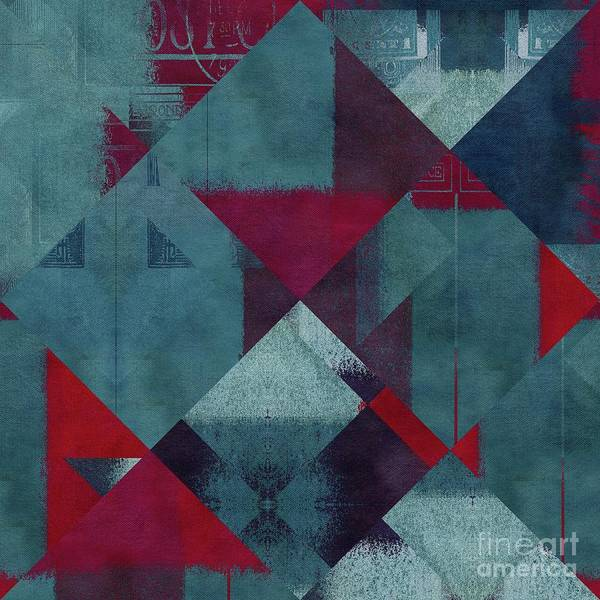 Turquoise Digital Art - Geomix - 1302-01 by Variance Collections
