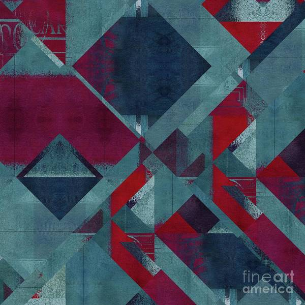 Turquoise Digital Art - Geomix - 1322-01 by Variance Collections