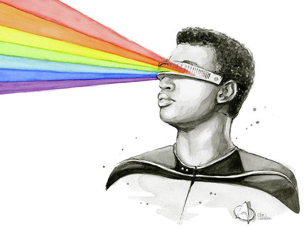 Wall Art - Painting - Geordi Sees The Rainbow by Olga Shvartsur