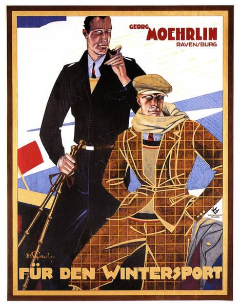 Clothing Mixed Media - Georg Moehrlin - Ravensburg - Vintage German Fashion Advertising Poster - Wintersport by Studio Grafiikka