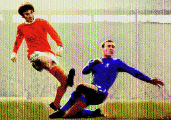 Stamford Bridge Wall Art - Mixed Media - George Best Against Chelsea by Charlie Ross