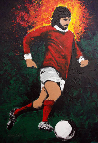 Fulham Road Wall Art - Painting - George Best by Barry Mullan
