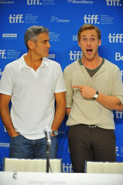 Ryan Gosling Photograph - George Clooney, Ryan Gosling by Everett
