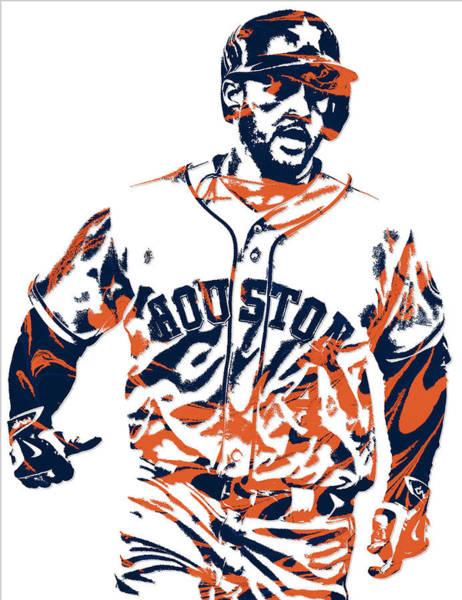 Wall Art - Mixed Media - George Springer Houston Astros Pixel Art 1 by Joe Hamilton