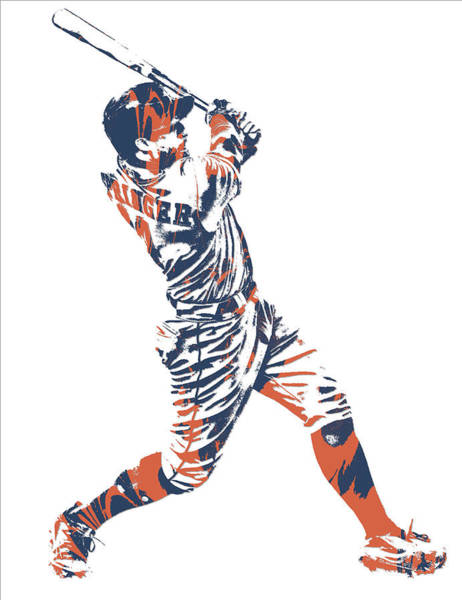 Outfield Wall Art - Mixed Media - George Springer Houston Astros Pixel Art 11 by Joe Hamilton