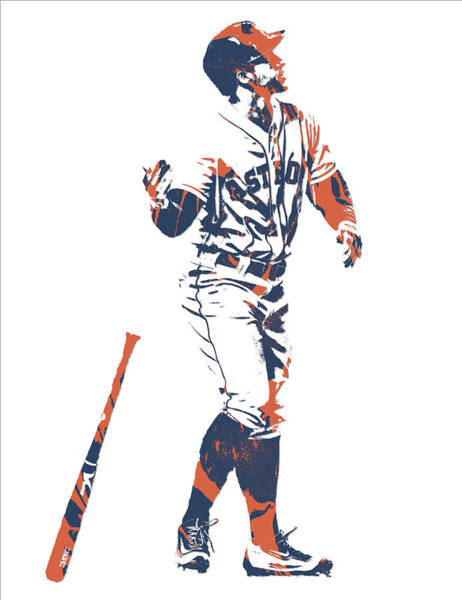 Outfield Wall Art - Mixed Media - George Springer Houston Astros Pixel Art 12 by Joe Hamilton