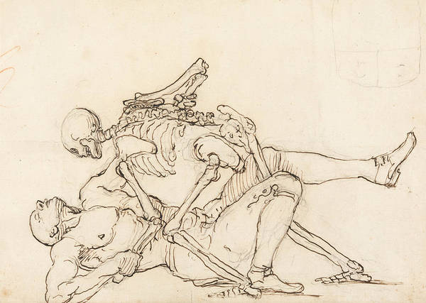 Drawing - George Taylor's Epitaph - Death Giving George Taylor A Cross Buttock by William Hogarth