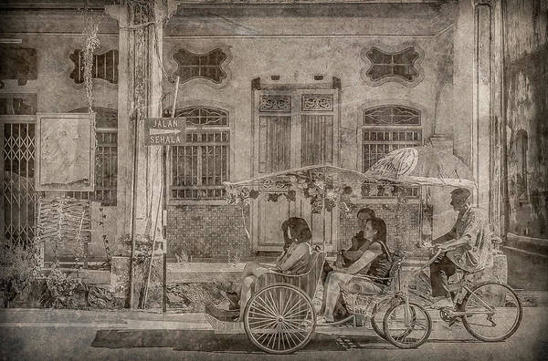 Photograph - George Town, Penang, Malaysia - Rickshaw, Silverplate by Mark Forte