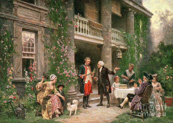 In Canada Painting - George Washington At Bartrams Garden by Jean Leon Jerome Ferris