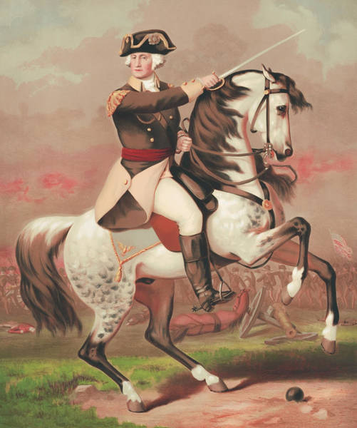 Wall Art - Painting - George Washington At The Battle Of Trenton by War Is Hell Store