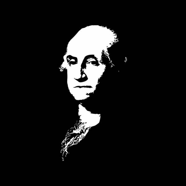 Continental Wall Art - Digital Art - George Washington Black And White by War Is Hell Store