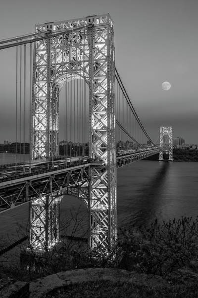 Photograph - George Washington Bridge Moon Rising Bw by Susan Candelario