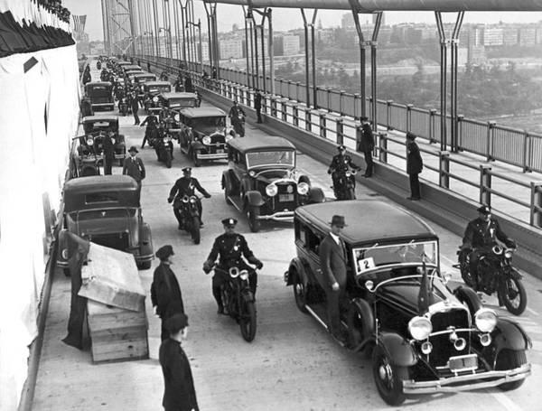 Photograph - George Washington Bridge Open by Underwood Archives
