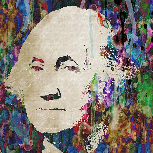 Wall Art - Painting - George Washington President Art by Robert R Splashy Art Abstract Paintings