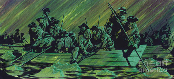 1776 Painting - George Washington's Army Crossing The Delaware River by Ron Embleton