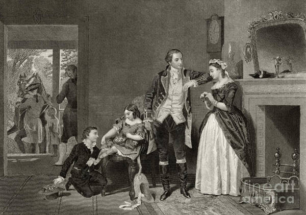 Flirting Drawing - George Washington's First Interview With Mrs Martha Custis by Alonzo Chappel